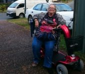 Customer on Red Mobility Scooter (anne-leisha)