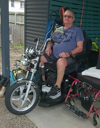 Customer with Pride Sportsrider Mobility Scooter