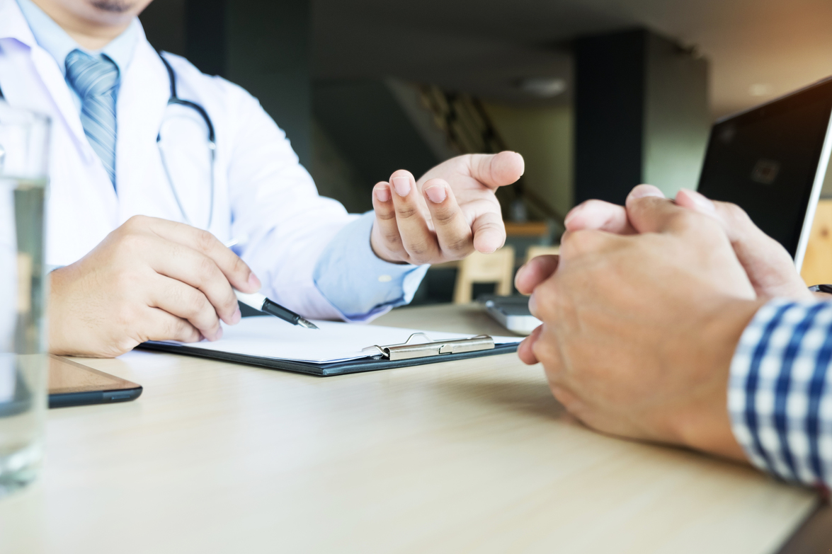 Patient discussing options with medical professional